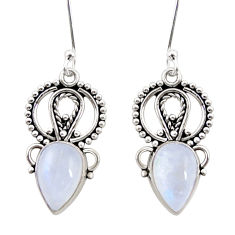 Clearance Sale- 8.05cts natural rainbow moonstone 925 sterling silver dangle earrings d41061