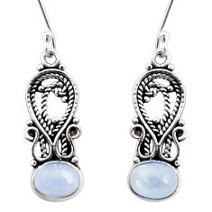 Clearance Sale- 5.57cts natural rainbow moonstone 925 sterling silver dangle earrings d41062