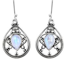 Clearance Sale- 5.36cts natural rainbow moonstone 925 sterling silver dangle earrings d41063