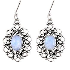4.51cts natural rainbow moonstone 925 sterling silver dangle earrings d41067