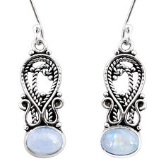 Clearance Sale- 4.06cts natural rainbow moonstone 925 sterling silver dangle earrings d41089