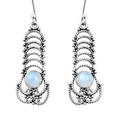 Clearance Sale- 2.72cts natural rainbow moonstone 925 sterling silver dangle earrings d41092