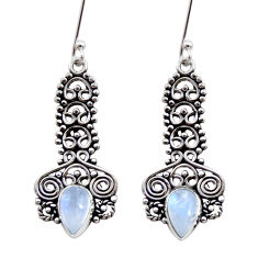 Clearance Sale- 4.38cts natural rainbow moonstone 925 sterling silver dangle earrings d41096