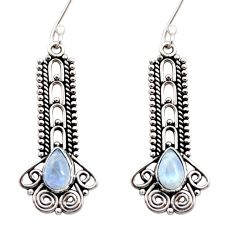 Clearance Sale- 4.25cts natural rainbow moonstone 925 sterling silver dangle earrings d41136
