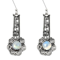 Clearance Sale- 2.35cts natural rainbow moonstone 925 sterling silver dangle earrings d41138
