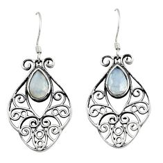 3.51cts natural rainbow moonstone 925 sterling silver dangle earrings d45739