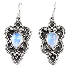 5.01cts natural rainbow moonstone 925 sterling silver dangle earrings d45788