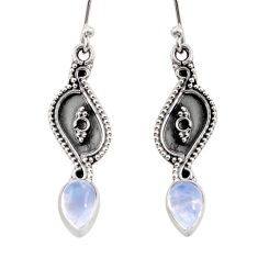 3.42cts natural rainbow moonstone 925 sterling silver dangle earrings d45806