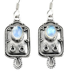 3.52cts natural rainbow moonstone 925 sterling silver dangle earrings d46938