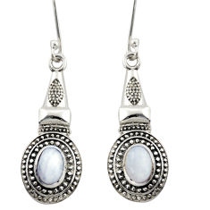 3.24cts natural rainbow moonstone 925 sterling silver dangle earrings d46958