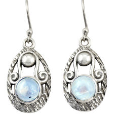 4.32cts natural rainbow moonstone 925 sterling silver dangle earrings d46999