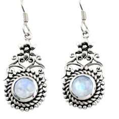 2.41cts natural rainbow moonstone 925 sterling silver dangle earrings d47019