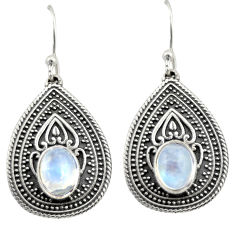 4.13cts natural rainbow moonstone 925 sterling silver dangle earrings d47060