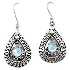 1.71cts natural rainbow moonstone 925 sterling silver dangle earrings d47079