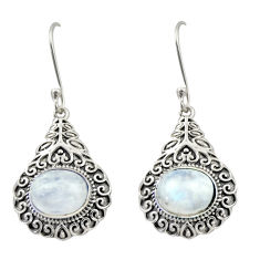 8.96cts natural rainbow moonstone 925 sterling silver dangle earrings d47080