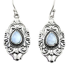 4.82cts natural rainbow moonstone 925 sterling silver dangle earrings d47118