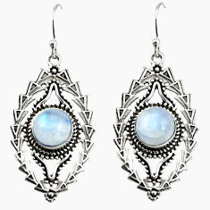 5.62cts natural rainbow moonstone 925 sterling silver dangle earrings r19747