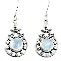 2.51cts natural rainbow moonstone 925 sterling silver dangle earrings r19823
