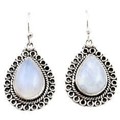 11.58cts natural rainbow moonstone 925 sterling silver dangle earrings r21503