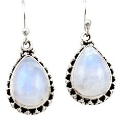 12.29cts natural rainbow moonstone 925 sterling silver dangle earrings r21508