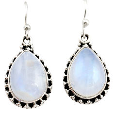 12.67cts natural rainbow moonstone 925 sterling silver dangle earrings r21510