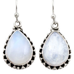 11.54cts natural rainbow moonstone 925 sterling silver dangle earrings r21517