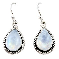 9.05cts natural rainbow moonstone 925 sterling silver dangle earrings r21525