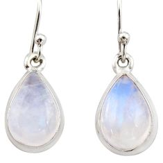 6.17cts natural rainbow moonstone 925 sterling silver dangle earrings r21531