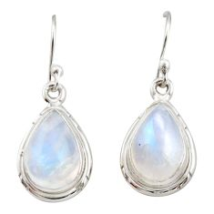 8.44cts natural rainbow moonstone 925 sterling silver dangle earrings r21537