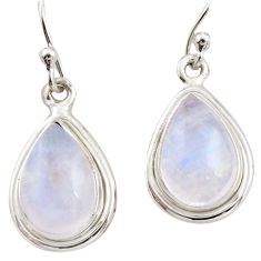 7.67cts natural rainbow moonstone 925 sterling silver dangle earrings r21553