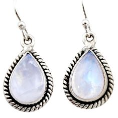 7.69cts natural rainbow moonstone 925 sterling silver dangle earrings r21558