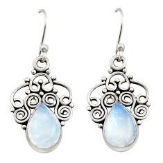 4.69cts natural rainbow moonstone 925 sterling silver dangle earrings r21737