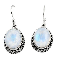 8.27cts natural rainbow moonstone 925 sterling silver dangle earrings r21872