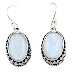 8.44cts natural rainbow moonstone 925 sterling silver dangle earrings r21876