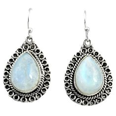 13.84cts natural rainbow moonstone 925 sterling silver dangle earrings r25038