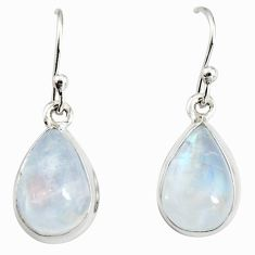 8.12cts natural rainbow moonstone 925 sterling silver dangle earrings r25082
