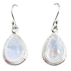8.26cts natural rainbow moonstone 925 sterling silver dangle earrings r25095