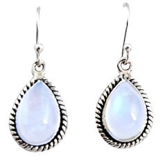 8.80cts natural rainbow moonstone 925 sterling silver dangle earrings r25096