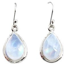 9.18cts natural rainbow moonstone 925 sterling silver dangle earrings r25100