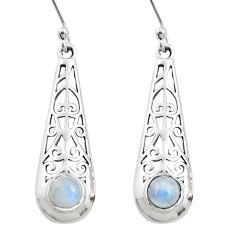1.73cts natural rainbow moonstone 925 sterling silver dangle earrings r26079