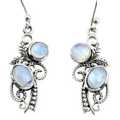 4.50cts natural rainbow moonstone 925 sterling silver dangle earrings r26098