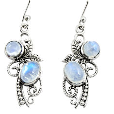 4.70cts natural rainbow moonstone 925 sterling silver dangle earrings r26099