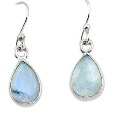 4.23cts natural rainbow moonstone 925 sterling silver dangle earrings r26717