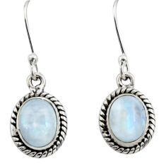 4.52cts natural rainbow moonstone 925 sterling silver dangle earrings r26719