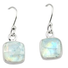 5.22cts natural rainbow moonstone 925 sterling silver dangle earrings r26720
