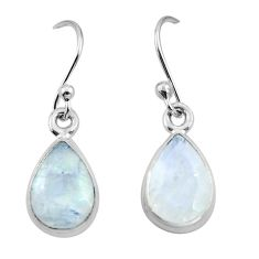 4.62cts natural rainbow moonstone 925 sterling silver dangle earrings r26738