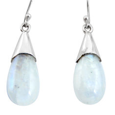 13.69cts natural rainbow moonstone 925 sterling silver dangle earrings r27019