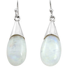 11.23cts natural rainbow moonstone 925 sterling silver dangle earrings r27020