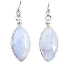 10.81cts natural rainbow moonstone 925 sterling silver dangle earrings r29229