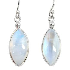11.96cts natural rainbow moonstone 925 sterling silver dangle earrings r29232